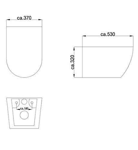 Keramik Wand WC Spülrandlos Hänge WC mit Nanobeschichtung Toilette WC-Sitz aus Duroplast mit Softclose Absenkautomatik passend zu GEBERIT Weiß WC - 5