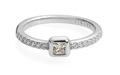 Esprit Damen-Ring Pico Glam 925 Silber rhodiniert Zirkonia weiß Rechteckschliff