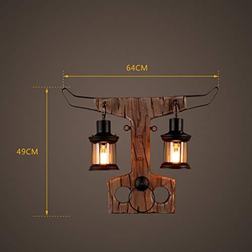 GCCI Holz Kunst Wandleuchte Kreative Ngau Tau Retro Restaurant Bar Wohnzimmer Schlafzimmer Nachttischlampe 2 Studienführer E27,64 * 49 cm Persönlichkeit,64 * 49 cm