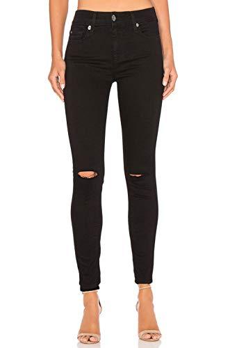 Monyray jeans strappati donna vita alta stretti pantaloni in denim jegging elasticizzati skinny sfilacciati alle ginocchia nero con strappi 40 42