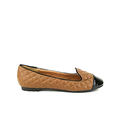 Cendriyon, Slippers Matelassé Marron à Bout Verni CYLIA Chaussures Femme