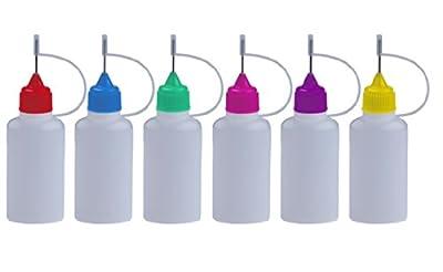 6 Stück FARBIGE Nadelflaschen inkl. Beschriftungstiketten - SmokerFuchs® Nadelcap - Leerflasche je 30 ml zum befüllen und mischen von E-Liquid für elektrische Zigaretten von ReiTrade