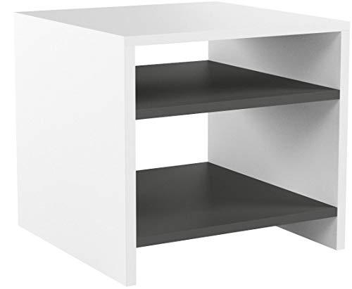 CARO-Möbel Nachttisch Nachtschrank Beistelltisch ALMERIA in weiß grau, mit 2 offenen Fächern