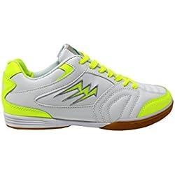 Agla F/40 Scarpe Da Futsal Indoor, Bianco/Giallo Fluo, 27.7 cm/43.5