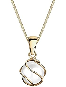 Elli Premium Damen-Kette mit Anhänger Spirale Süßwasserzuchtperle 375 Gelbgold Synthetische Perle Weiß 45 cm -...