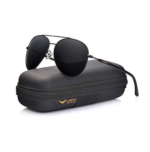 LUENX Herren Sonnenbrille Polarisiertes Fahren mit Gehäuse - UV 400 Schutz Schwarzer Rahmen Schwarzes Linse 60mm -