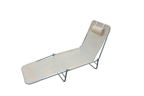 Outsunny® Sonnenliege Gartenliege Relaxliege Bäderliege Zweibeinliege 4 Farben (Creme)
