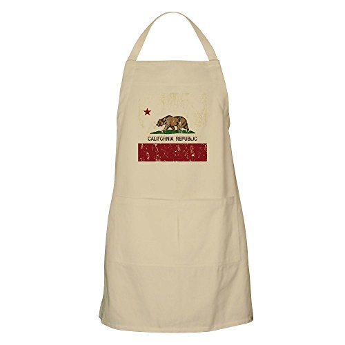 CafePress Grillschürze California Republic Distressed Flag Khaki -