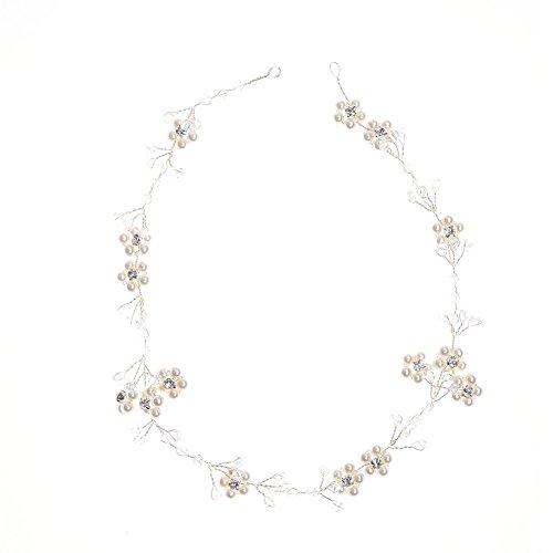 Oshide Haarschmuck Weiß Perlengirlande mit Strass Kleine Blumen Braut Haar Accessoires