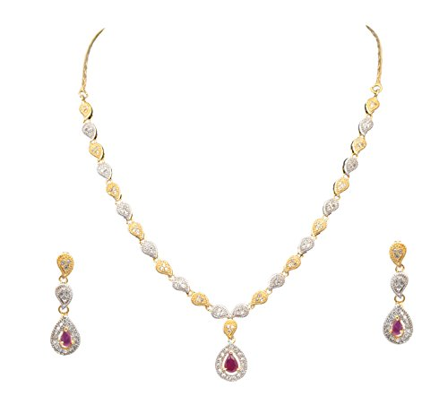 Sitashi Imitation/Fashion Jewellery Valentine Collection Stylish American Diamond Occasion Wear Pendent Necklace Set For Women (red)