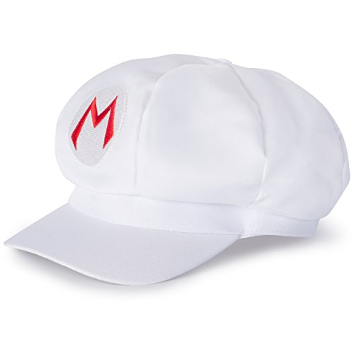 Mario Mütze Cap Cappy, Kostüm Verkleidung Fasching Karneval Halloween Erwachsene, Weiß ()
