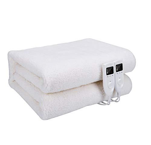 GFYWZ Heizdecke Intelligente Temperaturregelung, Timer, Überhitzungsschutz Collapse Mute Funktion Comfort Double-Person Heizdecke,White,1.8 * 1.5M - Voll Xl Matratze Pads