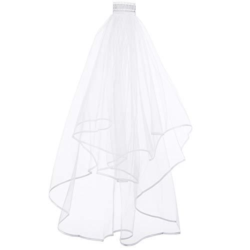 REDSTAR FANCY DRESS Damen Weiß 2 Ebenen Hochzeit Schleier für Bride to BE Junggesellinnenabschied Neuheit Spaß Maskenkostüm Zubehör -
