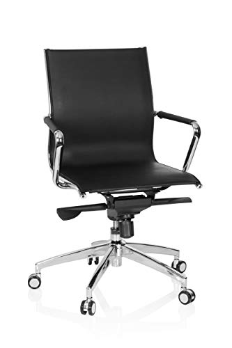 hjh OFFICE 660950 Profi Bürostuhl PATMOS Kunstleder Schwarz/Chrom hochwertiger Drehstuhl, Wippfunktion, niedrige Rückenlehne - Niedrige Rückenlehne Chrom