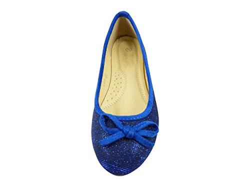 Chaussmaro da donna Ballet Flats Blu