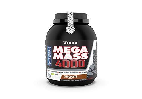Weider Mega Mass 4000 Weight Gainer Shake mit Protein und Kreatin, Schoko, Muskelaufbau, 3kg