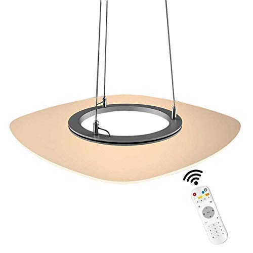 ZOOVQI LED Pendelleuchte Dimmbar Modern Hängeleuchte 36W Acryl Hängelampe Pendellampe Esstisch Höhenverstellbar Leuchtmittel Lampe Wohnzimmer Büro Schlafzimmer (Viereck-36W)