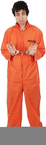 Zauberclown - Herren Karneva Prisoner/Häftlings Kostüm-Set 2-teilig, orange, Größe (Flapper Orange Kleid)