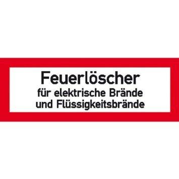 INDIGOS UG - Hinweisschild Brandschutz Feuerlöscher für elektr. Brände,selbstklebende,21x7,40cm - Warnung - Sicherheit - Hotel, Firma, Haus