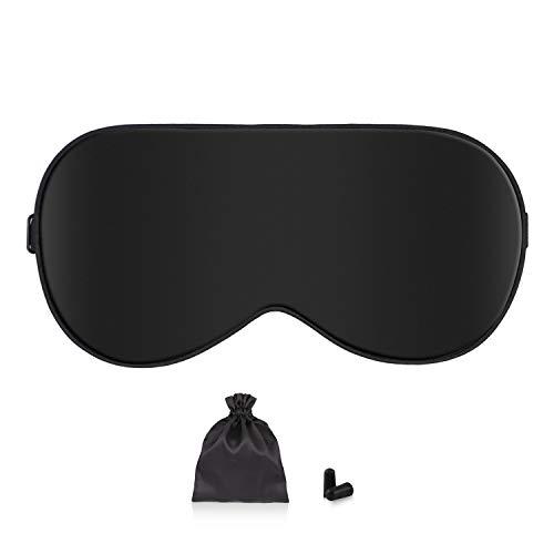 Schlafmaske Damen und Herren, Augenmaske Nachtmaske Seide Schlafbrille Verstellbarem Augenschutz für Reisen,Schichtarbeit und Nickerchen Schwarz Inklusive Ohrstöpsel Aufbewahrungstasche -