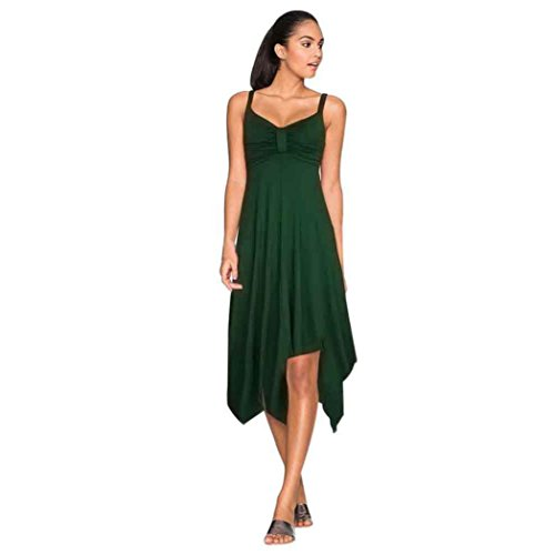 KanLin Damen Sommer Party Feiertags Strand Sundress langes Kleid Grün