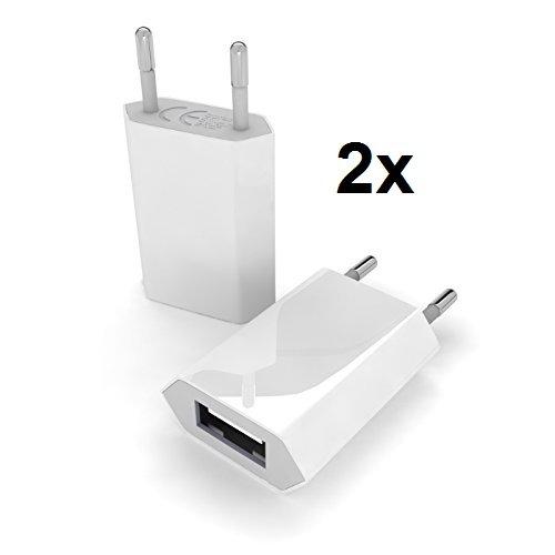 myTech® 2x Premium Highspeed Netzteil / Slim Charger / Reisestecker / Mini Netzstecker / Netzstecker / Ladestecker / Ladegerät für die Steckdose mit USB Eingang zum Aufladen für unterwegs, passend zu Apple iPhone, iPad, iPod, MP3 Player und anderen USB Geräten / Universal