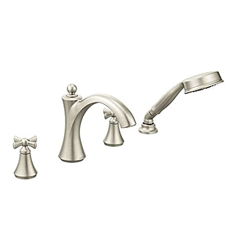 Moen T658BN Wynford Two-Handle Diverter Roman Tub Faucet Includes Hand Shower Trim Only, Brushed Nickel by Moen