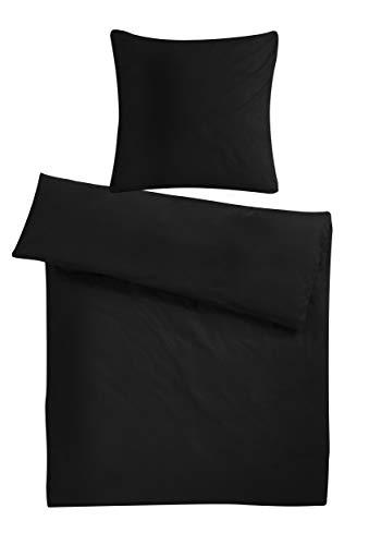 0f8613a936 Carpe Sonno Kühles Mako-Satin Bettbezug Set in exklusiver Hotelqualität 155  x 220 cm Schwarz Übergröße aus 100% Baumwolle für besten Schlafkomfort –  Mako ...