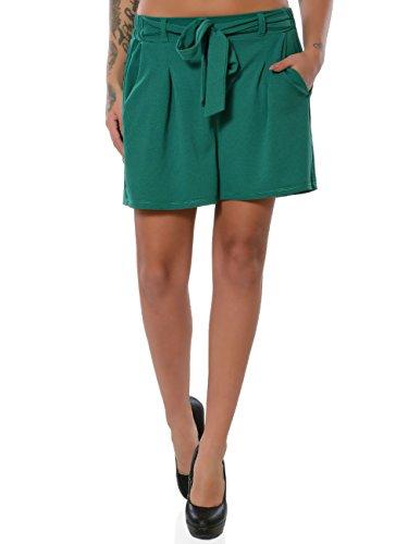 Damen Shorts Hot-Pants Kurze Sommer Hose Chino Stoffhose No 15885, Farbe:Grün, Größe:L/40