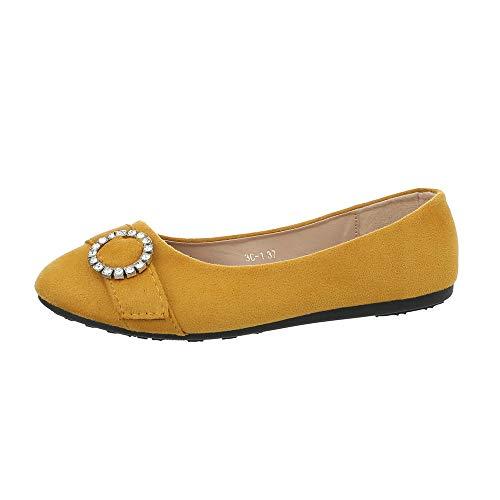 Fee Schuhe Kostüm - Ital-Design Damenschuhe Ballerinas Klassische Ballerinas Synthetik Gelb Gr. 38