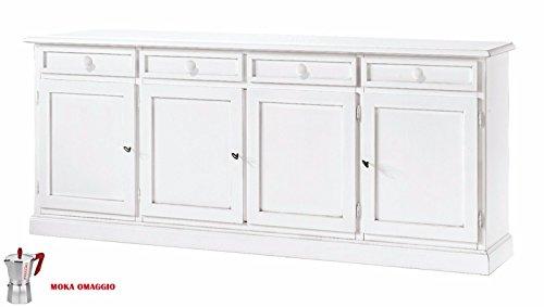 CLASSICO madia bassa Shabby Chic bianca con 4 sportelli e 4 cassetti sala 205x42x86 1380