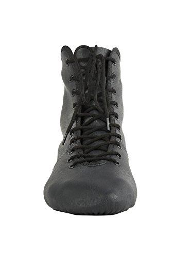 Rumpf 4125 Garde Karneval Folklore Tanz Stiefel Schuhe geteilte Gummisohle Farben schwarz und weiß Schwarz
