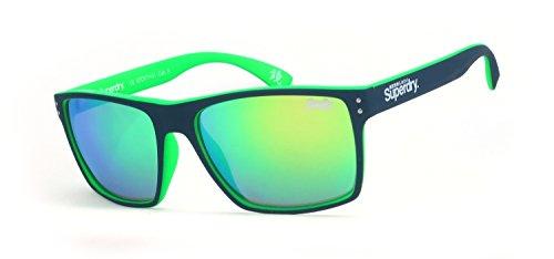 Superdry Sonnenbrille Kobe 2 108 - Schwarz Grüne Sonnenbrille aus Kunststoff mit grün verspiegelten Glässern - Herrenmodell - 100% UVA & UVB Schutz