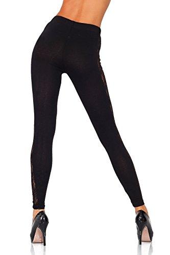 futuro fashion einzigartig voller Länge Baumwolle Leggins mit Spitze Streifen alle Größen Hosen elagent Mode Hose 8-20 UK lpl Schwarz