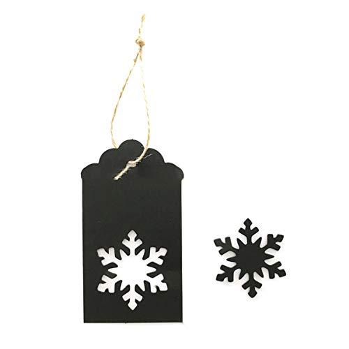 IHomiki 100Pcs Weihnachtsschneeflo Geschenkanhänger Kraft Papier Geschenkanhänger Hohle Weihnachten Schlagwörter Kreative Hang Etiketten für Winter-Thema-Partei (Schwarz)