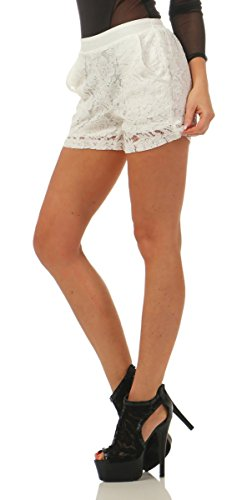 3838 Fashion4Young Damen Hotpants Shorts kurze Hose Spitze Spitzenhotpants Gummizug Weiß