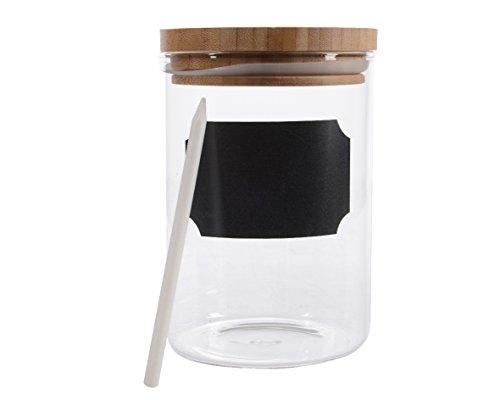 Vorratsdose aus Glas mit Beschriftungstafel, Bambusholzdeckel und Kreide