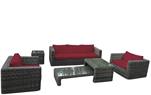 Baidani Rundrattan Garten Lounge Passion Select integrierter Stauraum - Grau meliert (Bordeaux)