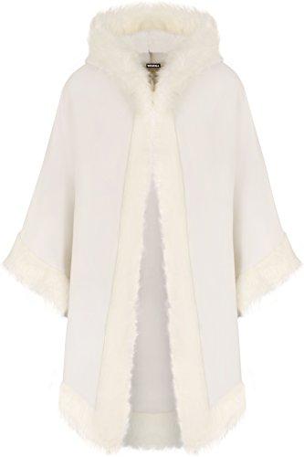 WearAll - Damen Ebene Faux Pelz Trimmen Abzugshaube Umhang Schal Mantel Poncho Mantel Top - Creme - Eine Größe -