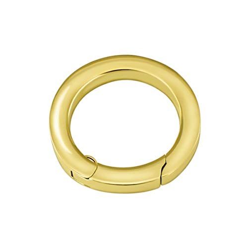 Quiges Clip Ring Carrier Gold 22 mm Edelstahl Verbindungsring für Kette und Coin Anhänger mit Karabiner Haken Verschluss