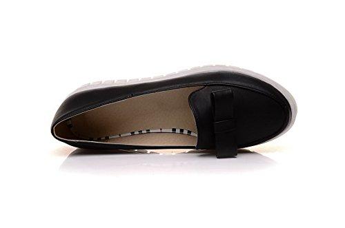 VogueZone009 Femme Tire Pu Cuir Rond à Talon Bas Couleur Unie Chaussures Légeres Noir