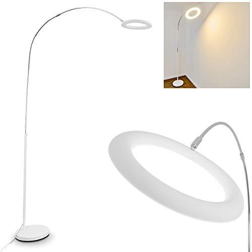 LED Stehlampe Fenioux aus Metall in Weiß/Chrom, Stehleuchte mit stufenlosem Dimmer, 19 Watt, 1800 Lumen, 3000 Kelvin (warmweiß), Bodenlampe mit max. 204 cm Höhe (verstellbar) -