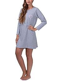Moonline - Chemise de nuit courte pour femme sleepshirt robe de nuit 100%  coton tailles d906a8f6859