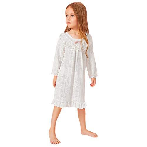 Weiß Kleid,Prinzessin Kostüm Rock,Janly Kleinkind Kinder Baby Mädchen Solide Tüll Rüschen Pyjama Kleid Rock Freizeit Outfits (110) (Prinzessin Pyjama Baby & Kleinkind Kostüm)