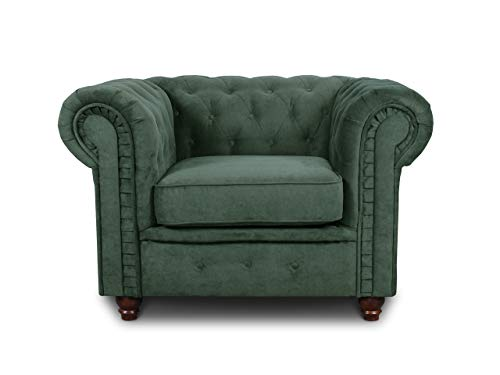 Sessel Chesterfield Asti - Couch, Couchgarnitur, Couchsessel, Loungesessel, Stühl, Holzfüße - Glamour Design (Grün (Capri 74))
