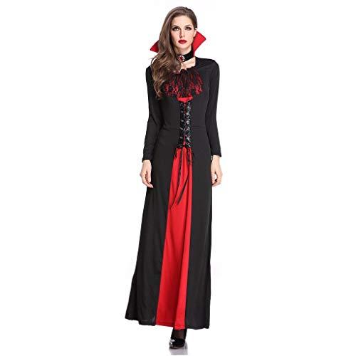 Supertong Damen Kleid Halloween Ostern Weibliches Cosplay Kostüm Partykleider Mode Retro 50er Gericht Hexe Lace-Up Patchwork Fledermausärmel Kleider