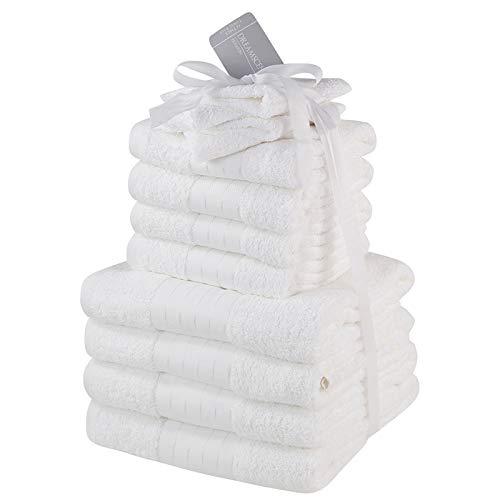 Dreamscene Handtücher Bale Set 100% ägyptische Weich Bad Hand Face 12Stück, Baumwolle, weiß, 29x 30x 26cm (Luxuriöse Ägyptische Baumwolle-bad)