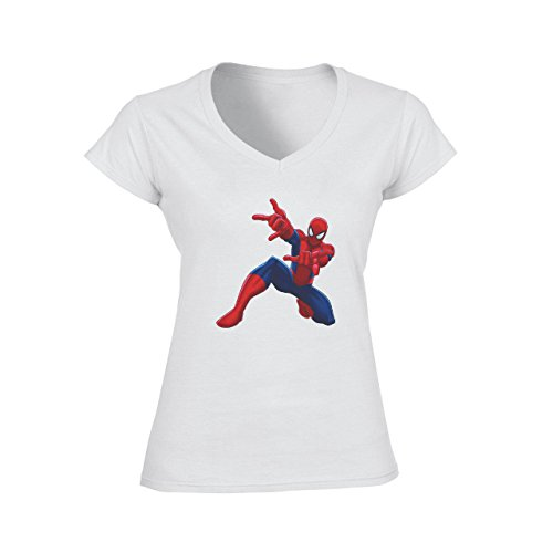 Spiderman Peter Parker Super Heroe On One Knee Damen V-Neck T-Shirt Weiß