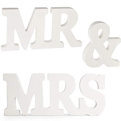 (Ouinne MR & MRS Wooden Briefe Buchstaben für Hochzeit Dekoration Geschenk Dekoration Hochzeit Holzbuchstaben)