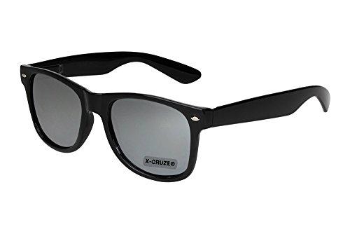 X-CRUZE® 8-015 X0 Nerd Sonnenbrille Retro Vintage Design Style Stil Unisex Herren Damen Männer Frauen Brille Nerdbrille - schwarz und silber verspiegelt